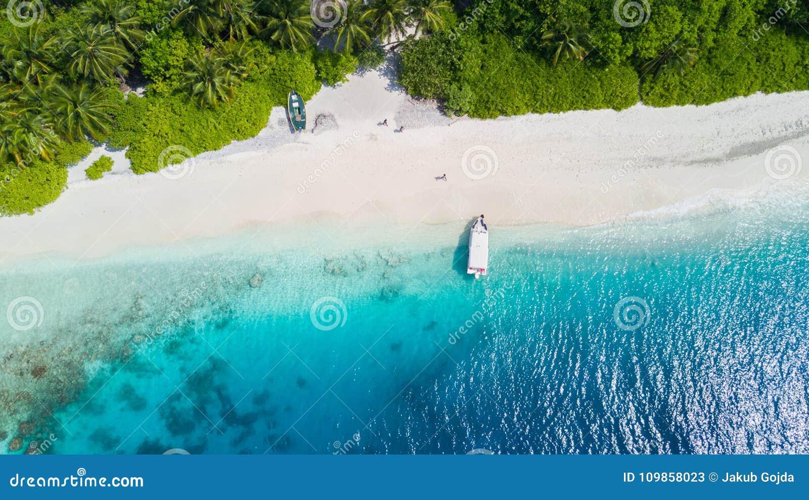 Vista aérea de Islandia tropical con la playa arenosa, Maldivas