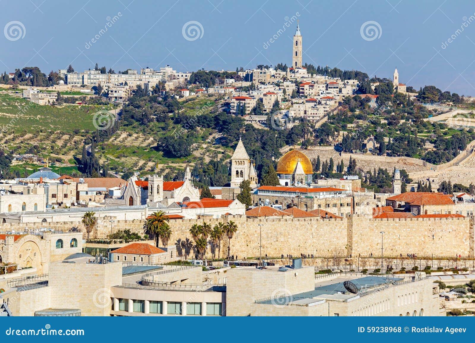 Download Vista Aérea De Jerusalén Antes De La Puesta Del Sol Foto de archivo - Imagen de medio, cuadrado: 59238968