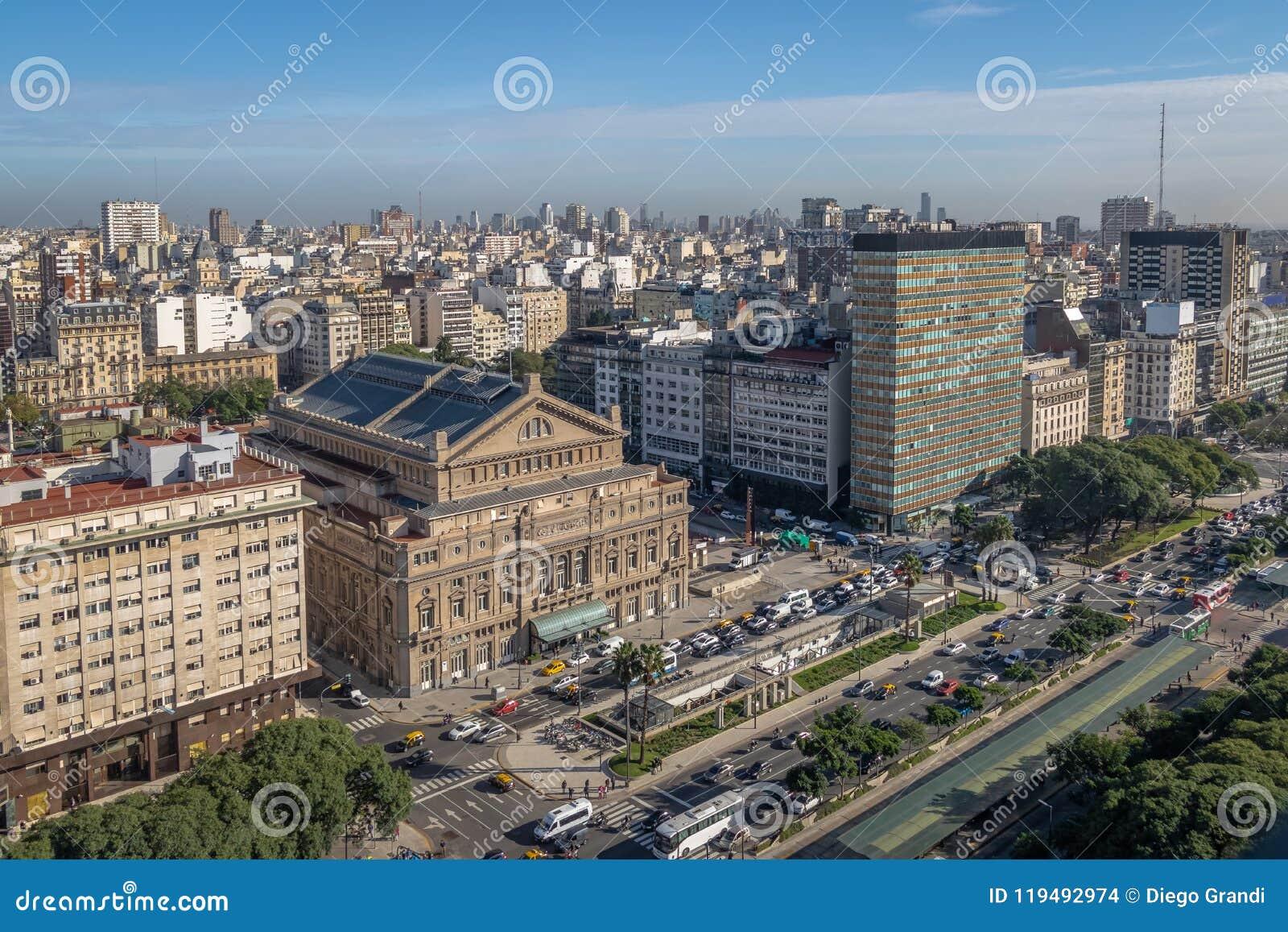Vista aérea a 9 de Julio Avenue - Buenos Aires, la Argentina