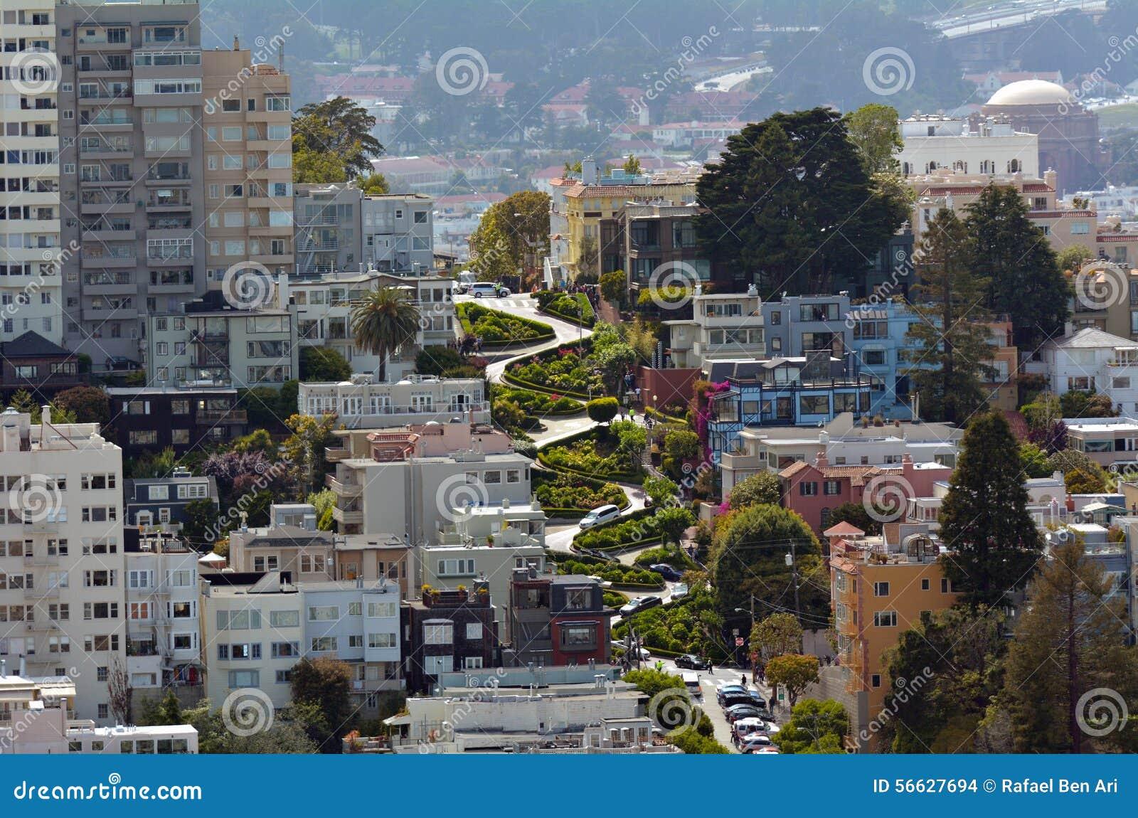 vista a rea de la calle del lombardo en san francisco california imagen de archivo editorial. Black Bedroom Furniture Sets. Home Design Ideas