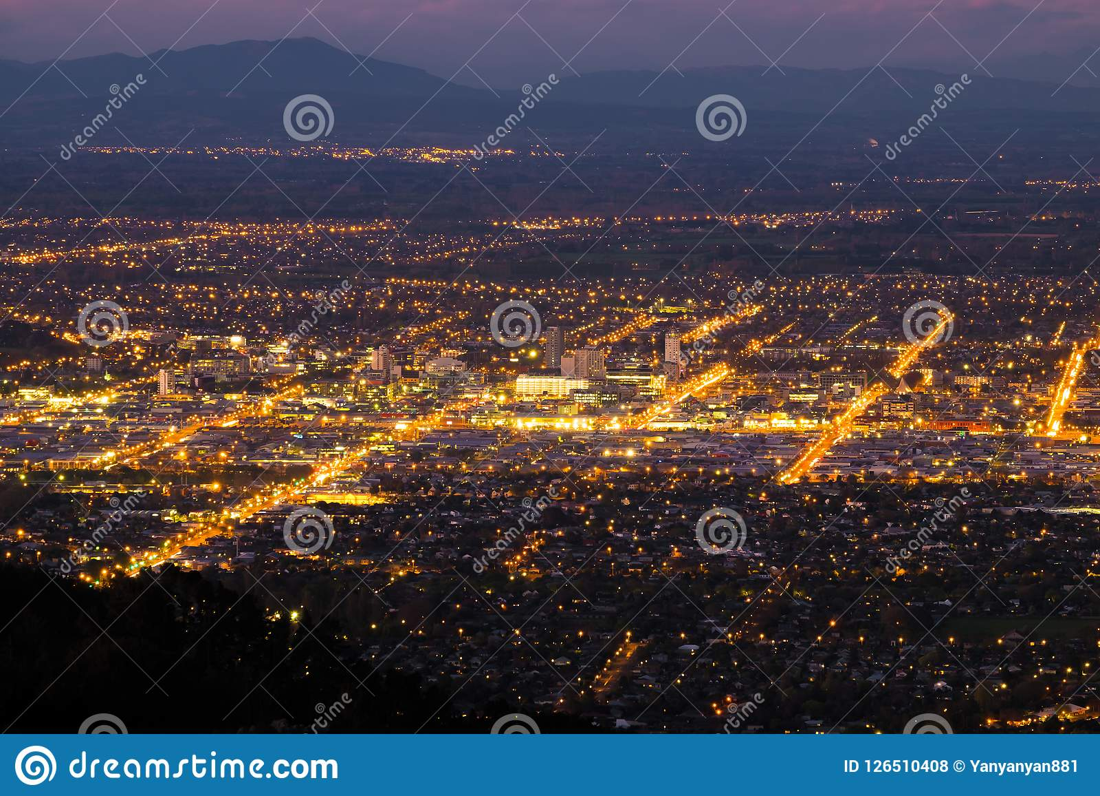 Vista aérea de la ciudad de Christchurch, Nueva Zelanda
