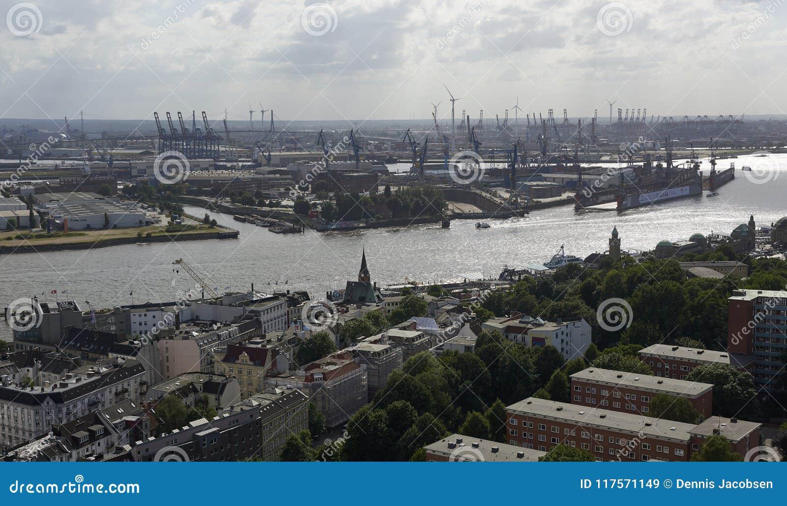 Vista aérea de la ciudad de Hamburgo