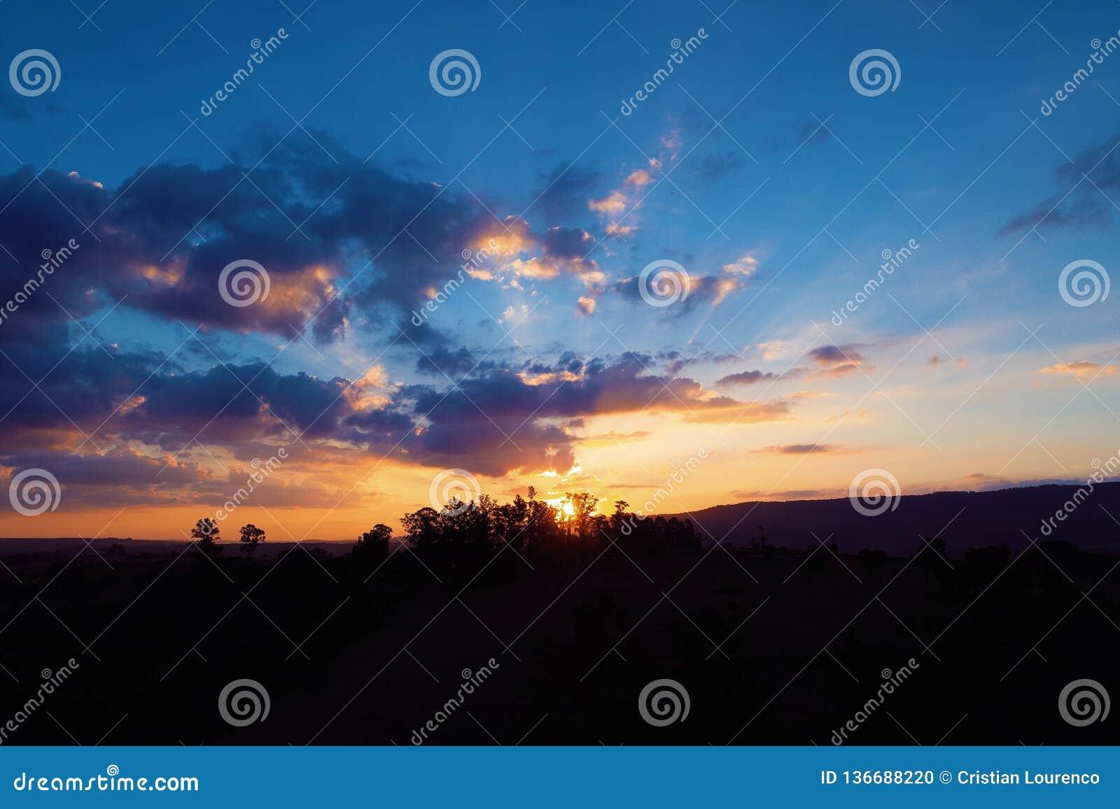 Vista aérea de la puesta del sol de un campo con los rayos de sol del bosque