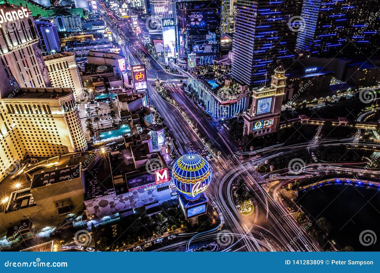 Vista aérea de la tira de Las Vegas