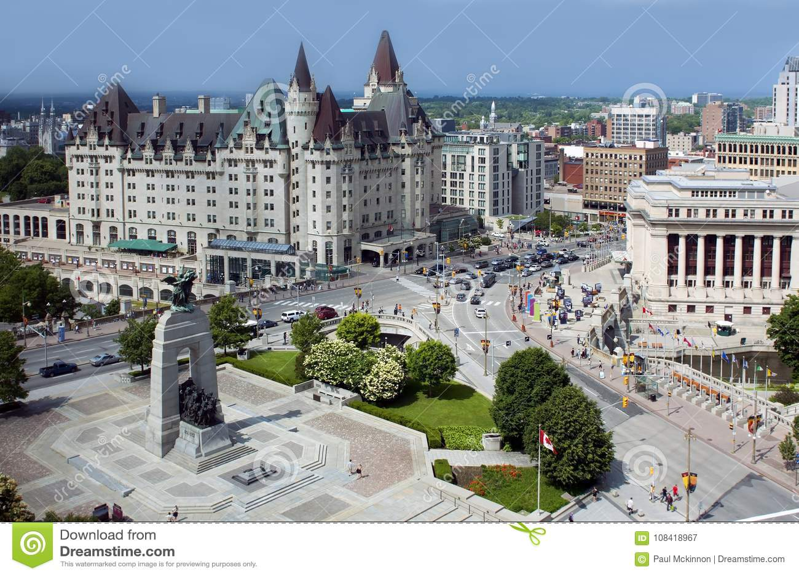 Vista aérea de Ottawa céntrica
