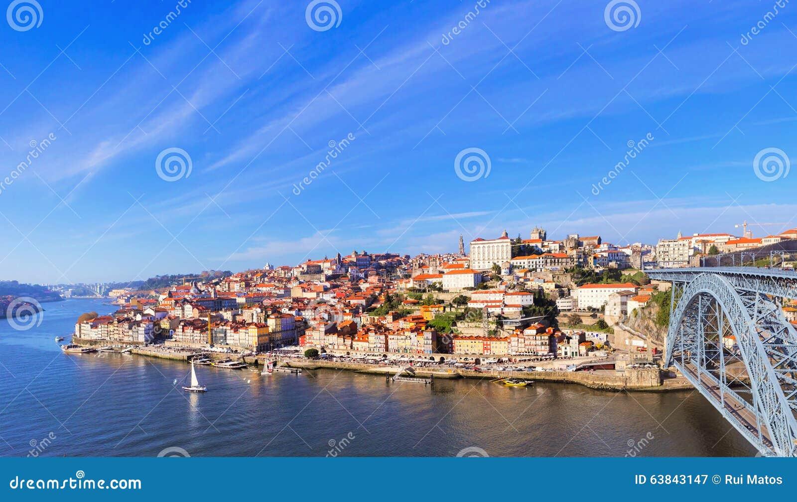 Vista aérea de Ribeira, o Porto, Portugal
