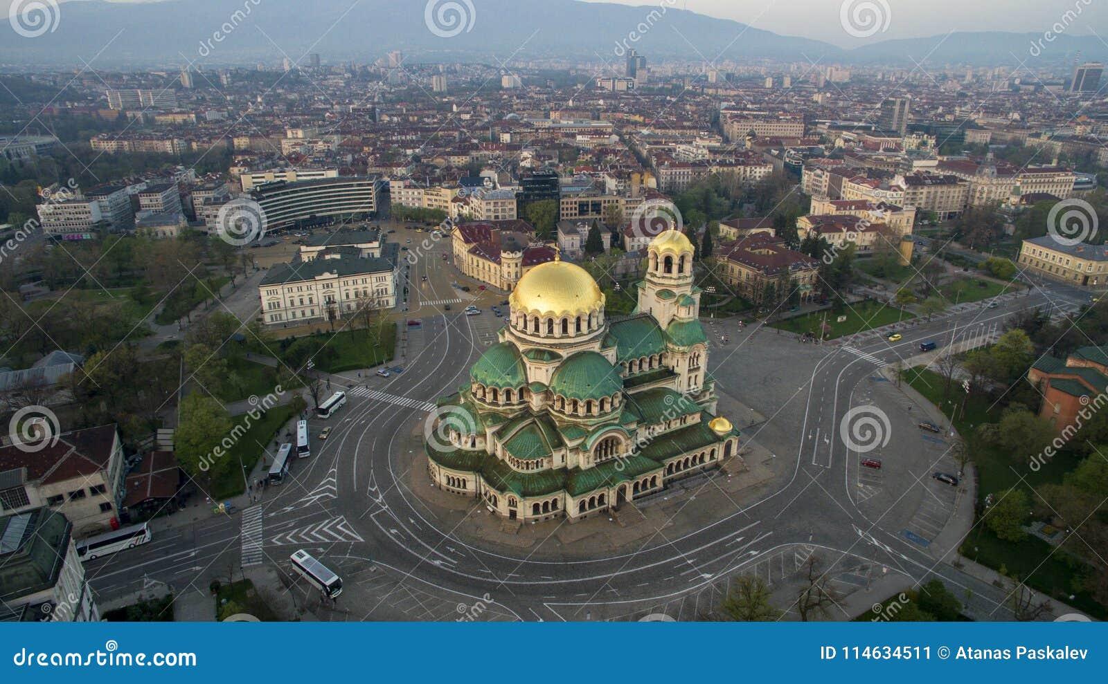 Vista aérea de St Alexander Nevsky Cathedral, Sofía, Bulgaria
