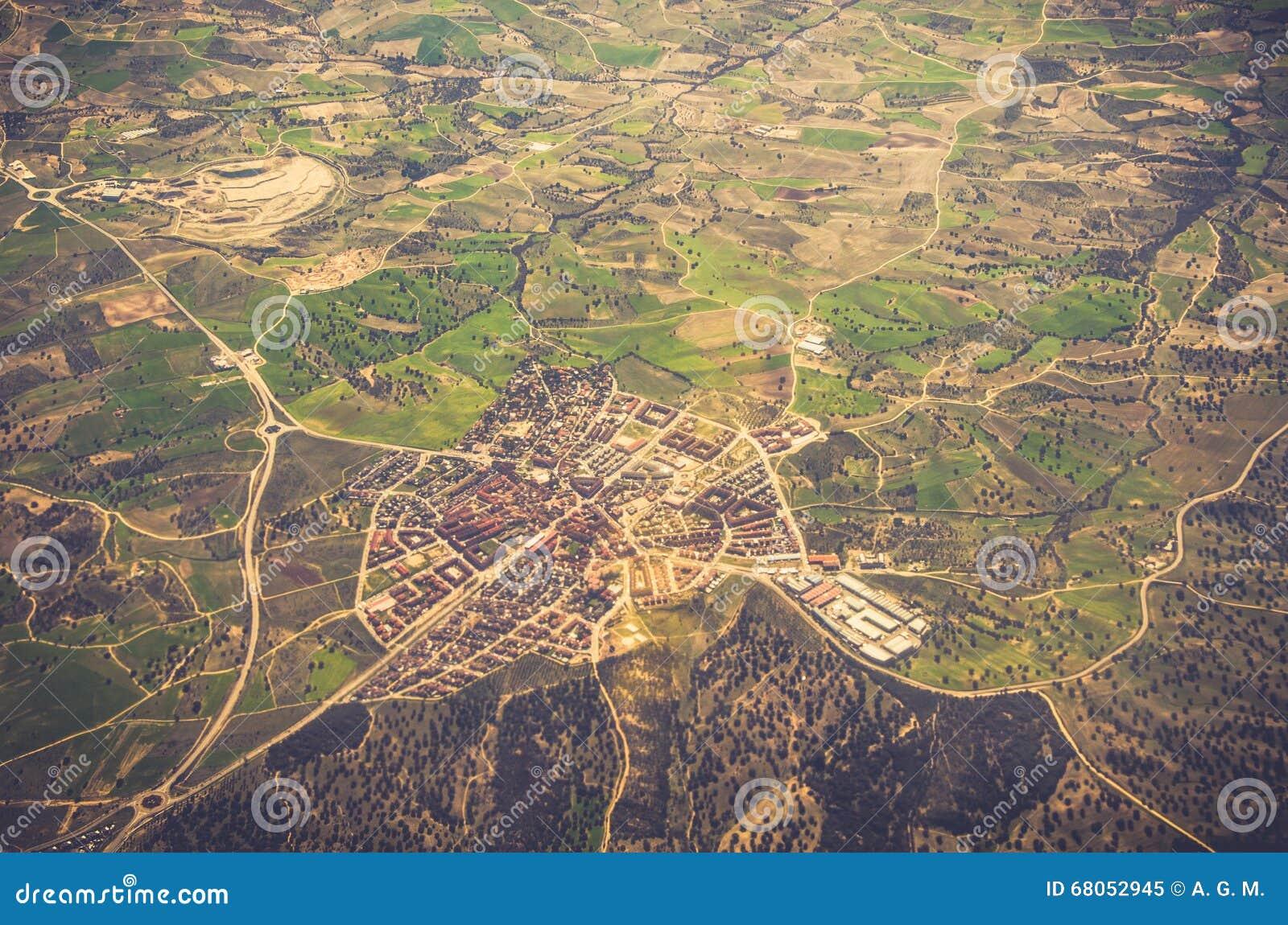 Vista aérea del área residencial