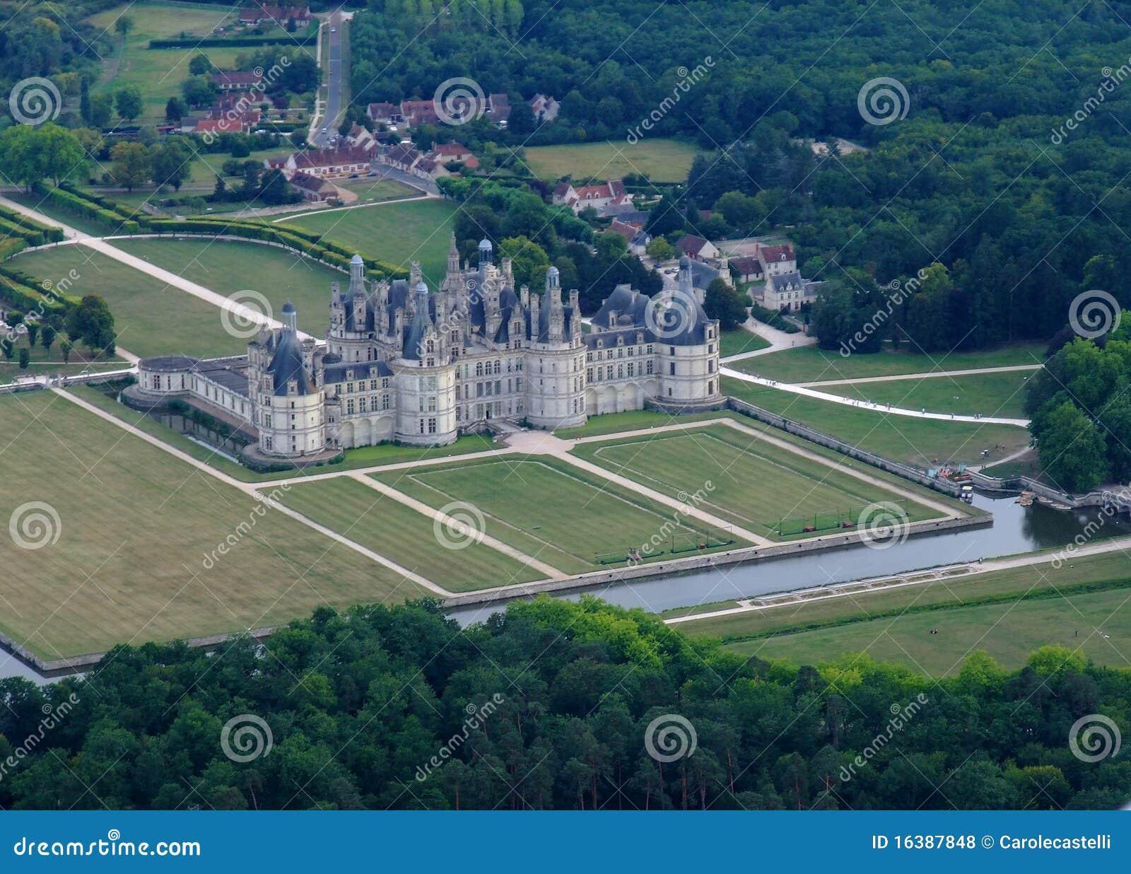 Vista aérea del castillo de Chambord