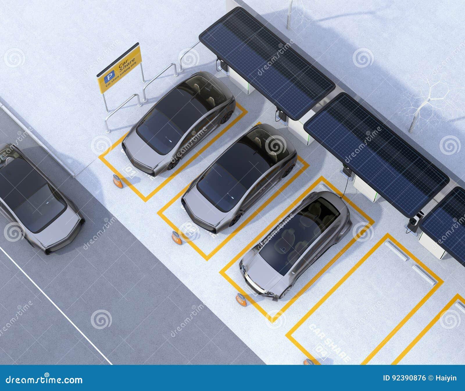Vista aérea del estacionamiento para el negocio de la distribución de coche