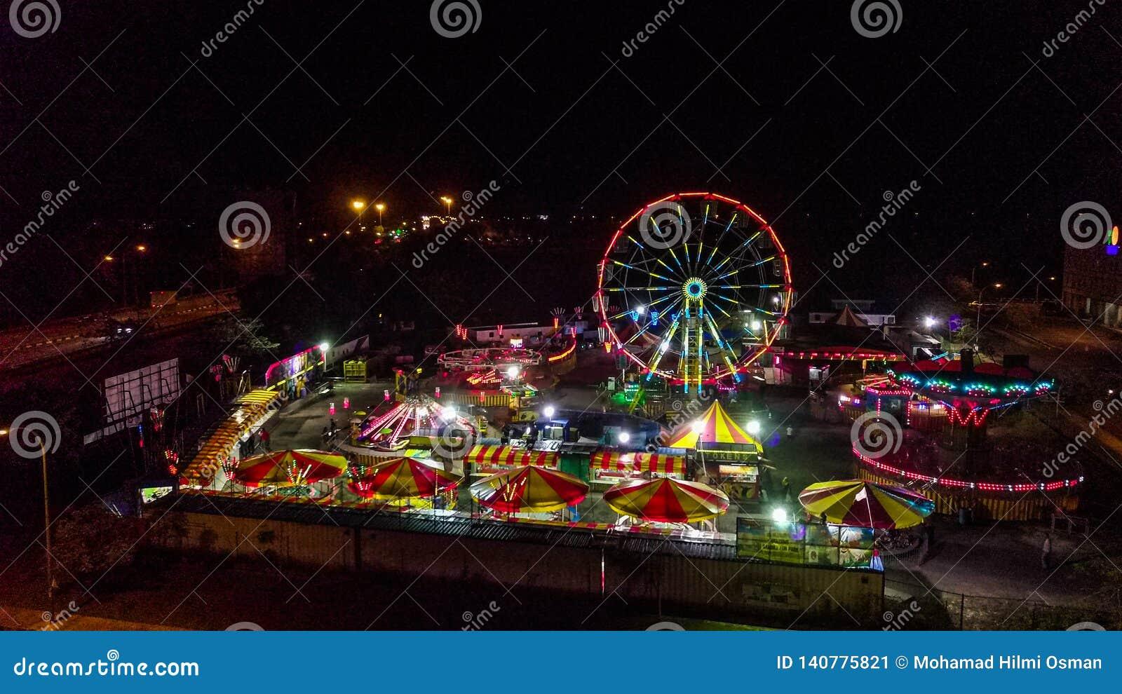 Vista aérea del funfair en Malasia