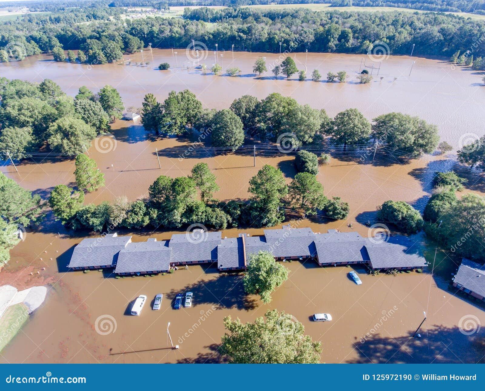 Vista aérea del huracán Matthew Flooding
