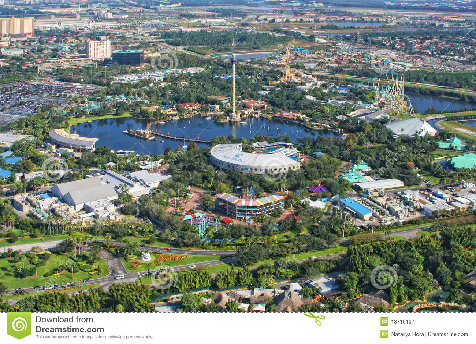 Vista Aerea Del Seaworld Orlando La Florida Los E E U U