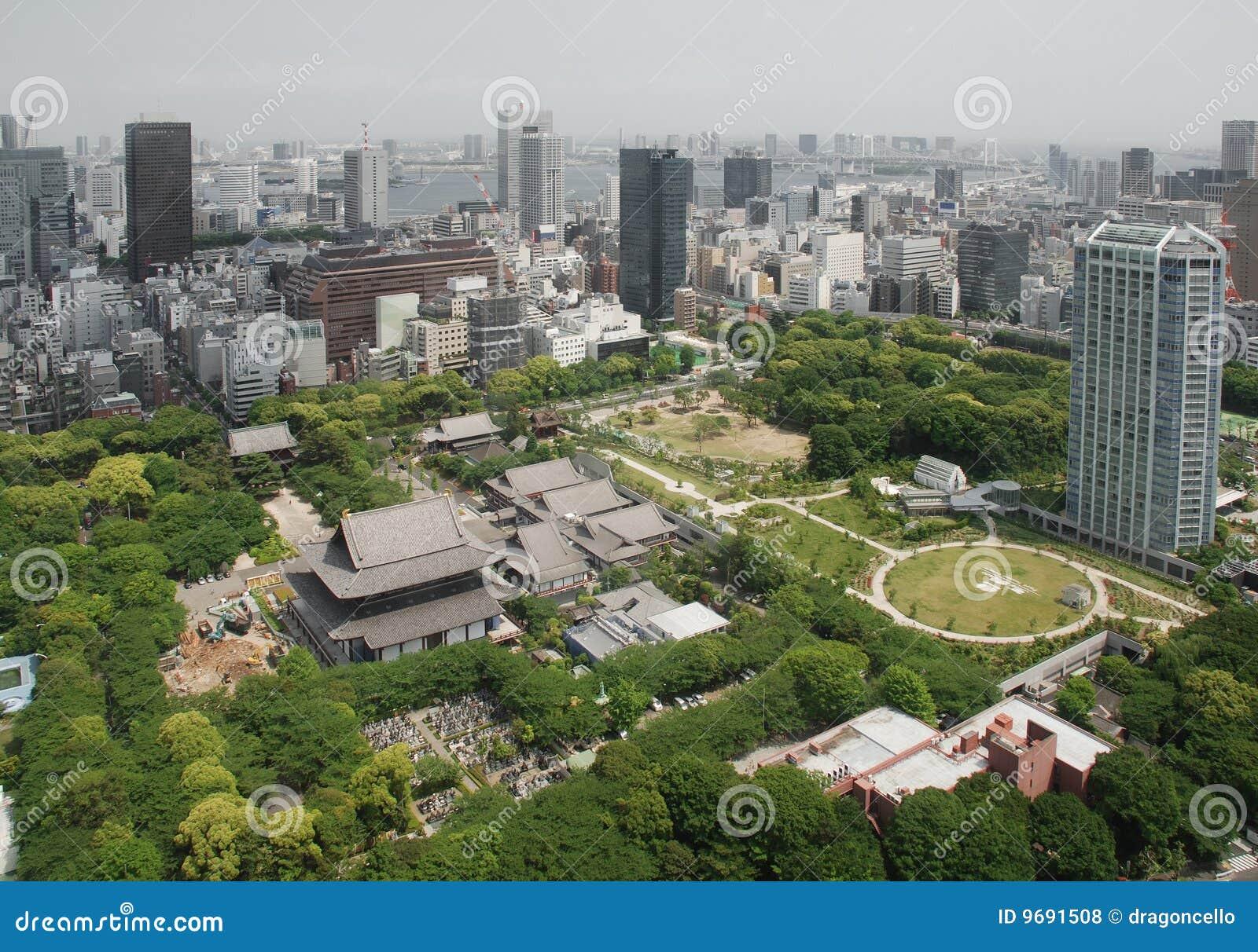 Vista aérea del templo de Zojo-Ji
