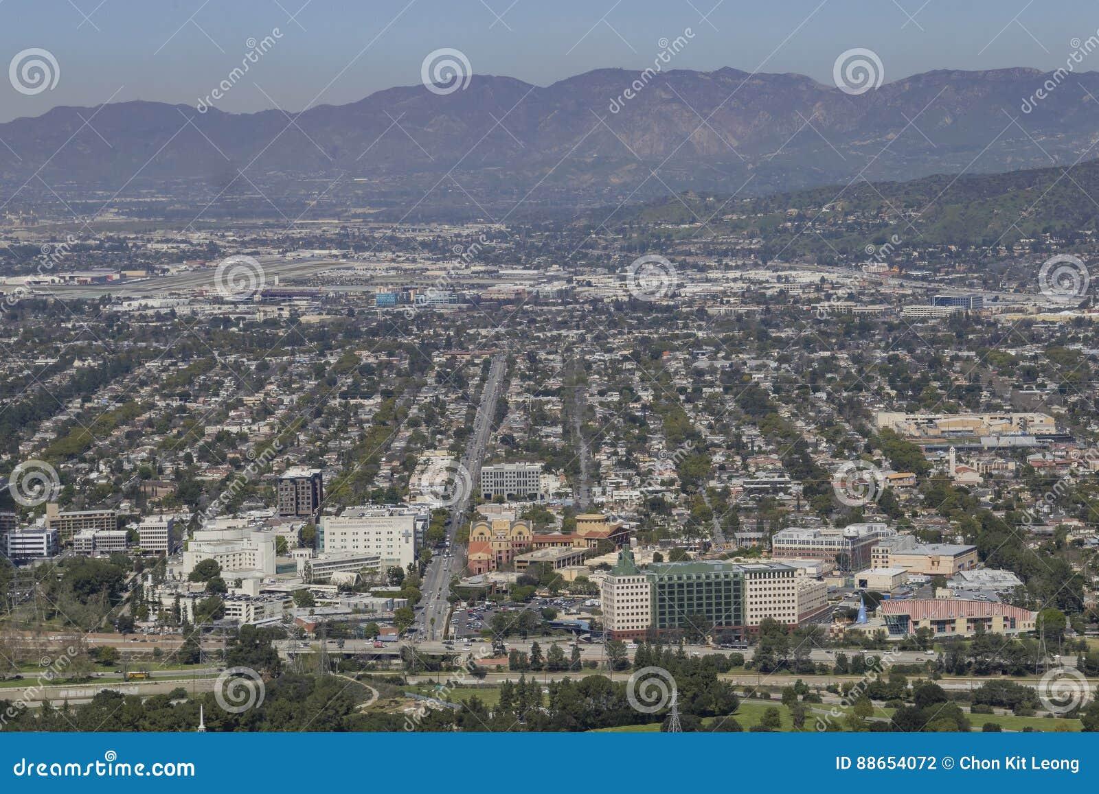 Vista aérea do aera de Burbank