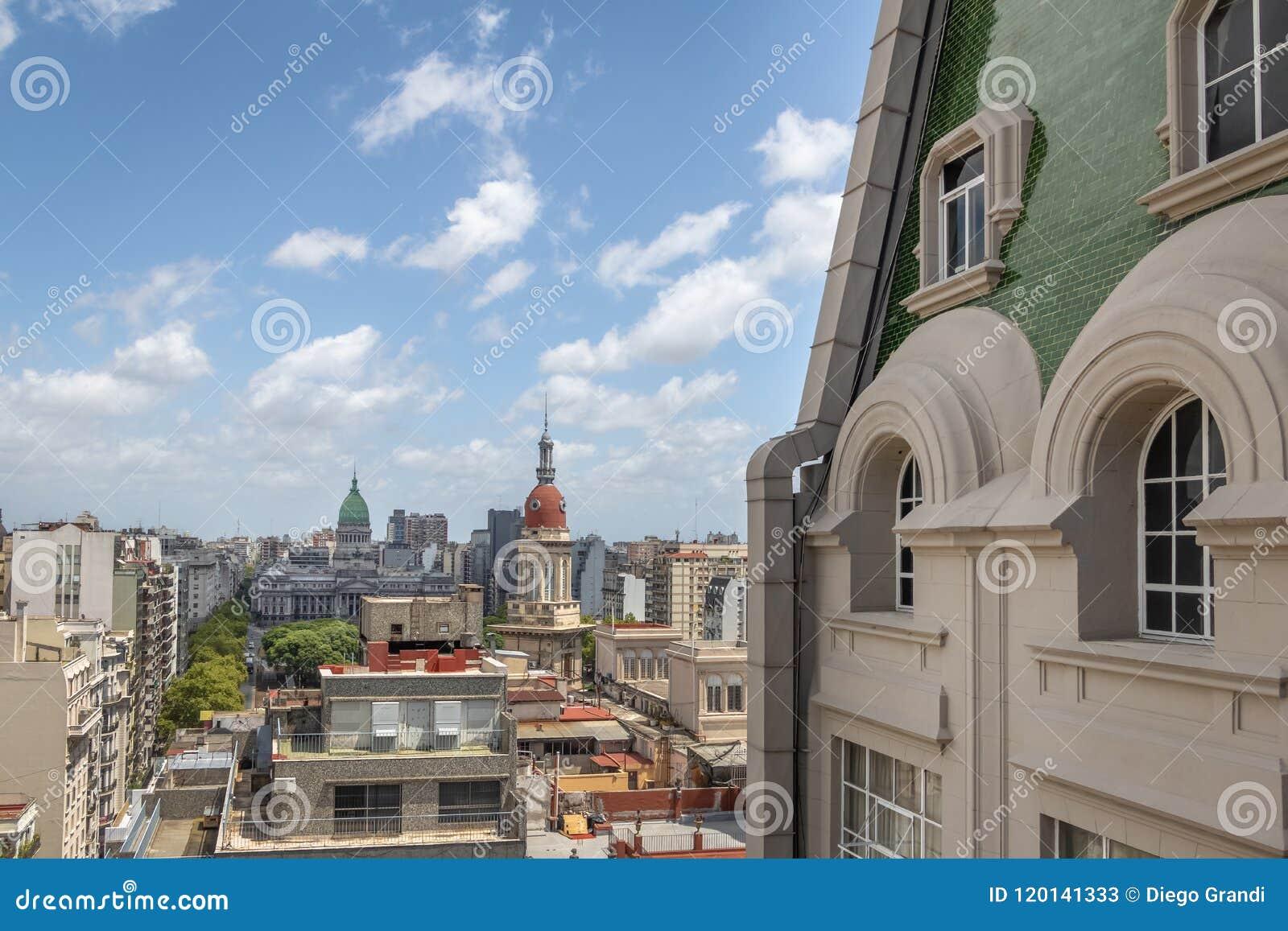 Vista aérea do palácio de Congreso Barolo da plaza - Buenos Aires, Argentina