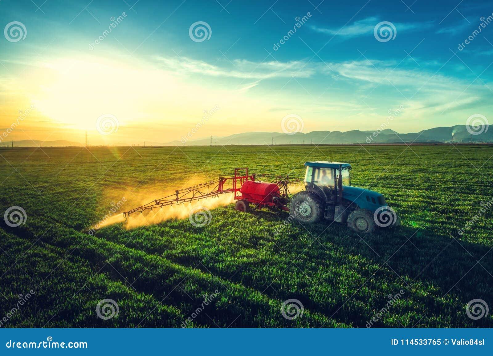 Vista aérea do trator de cultivo que ara e que pulveriza no campo