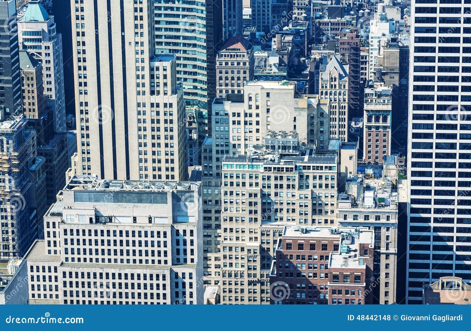 vista area hermosa de la de new york city edificios a foto de archivo