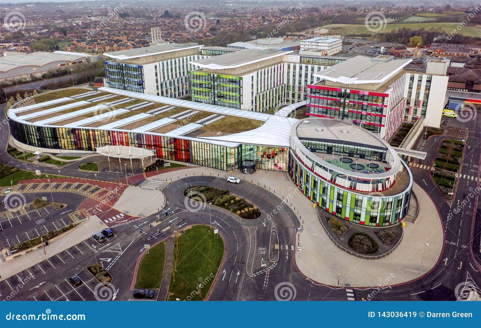 Vista aérea, reis Moinho Hospital, Nottingham, Inglaterra