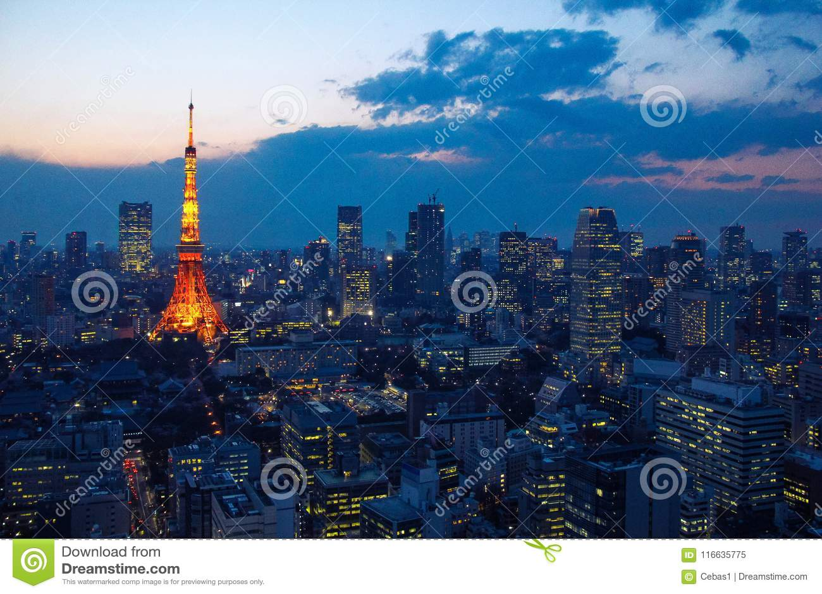 Vista aérea sobre a torre do Tóquio e arquitetura da cidade do Tóquio no por do sol