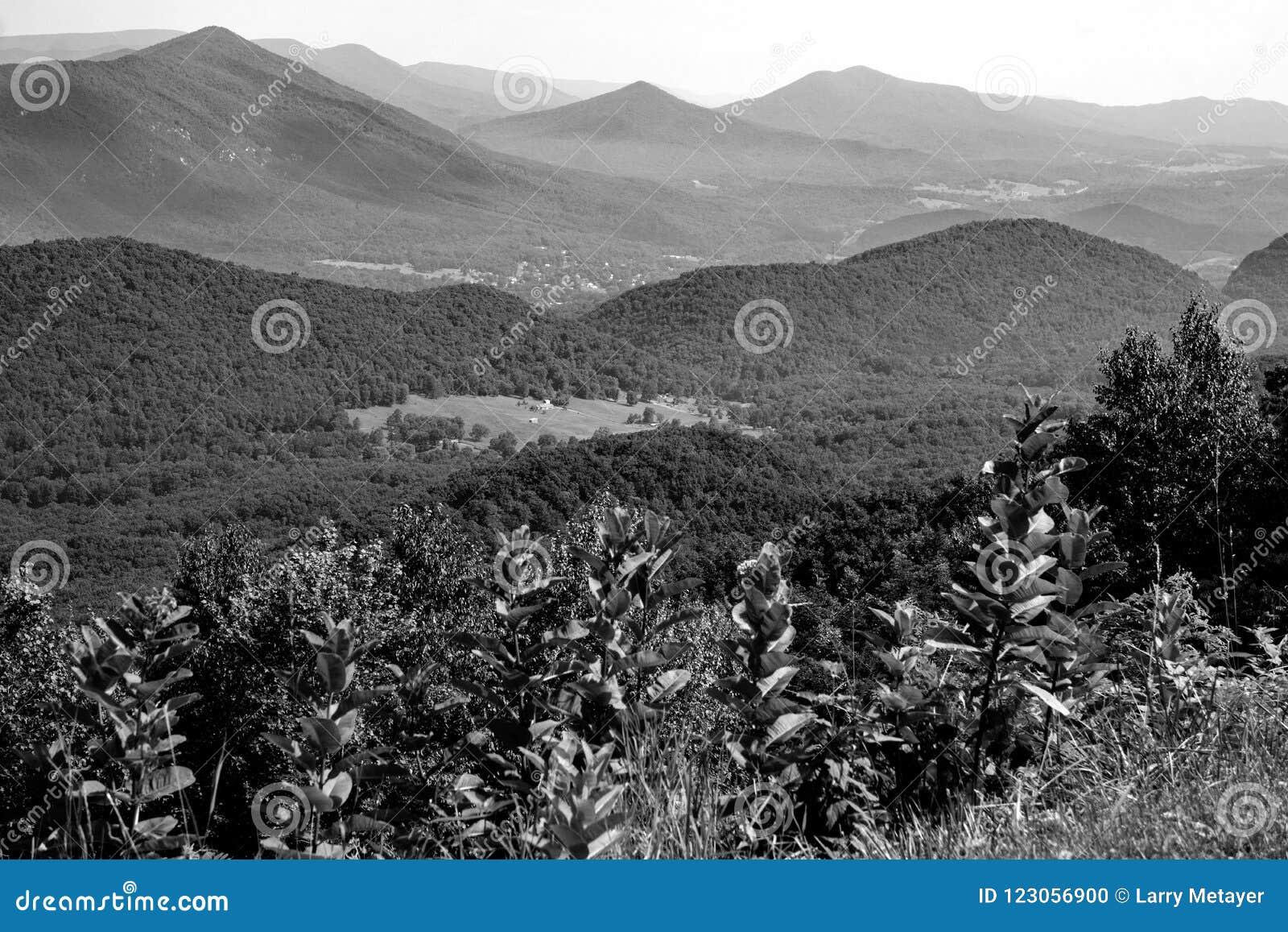 Vista abstracta del valle azul de la cala de Ridge Mountains y del ganso
