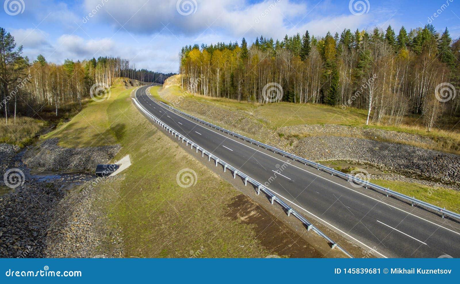 Vista aerea del paesaggio della strada rurale vuota nella bella foresta di autunno