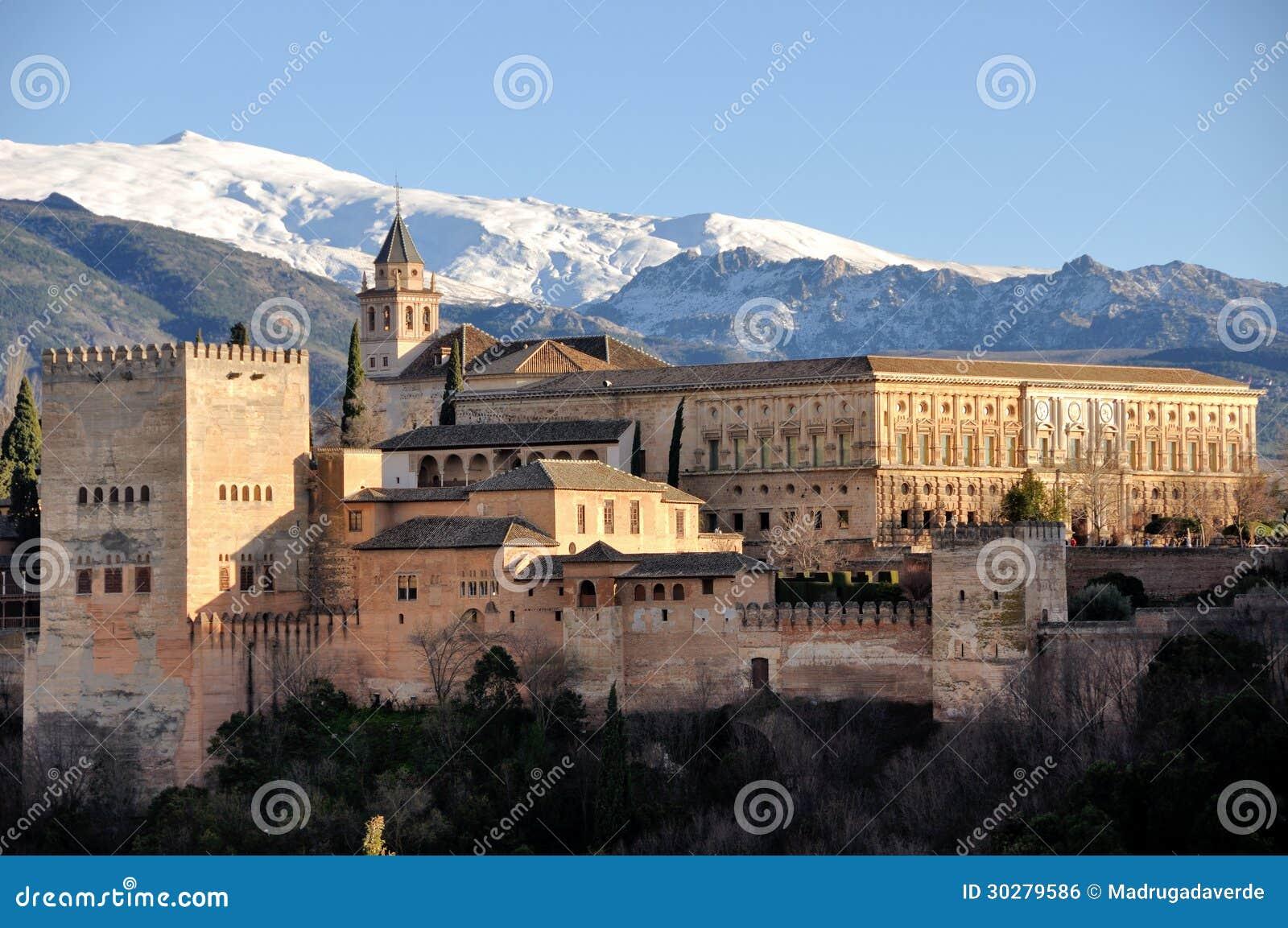 Vista aerea del palazzo di Alhambra a Granada