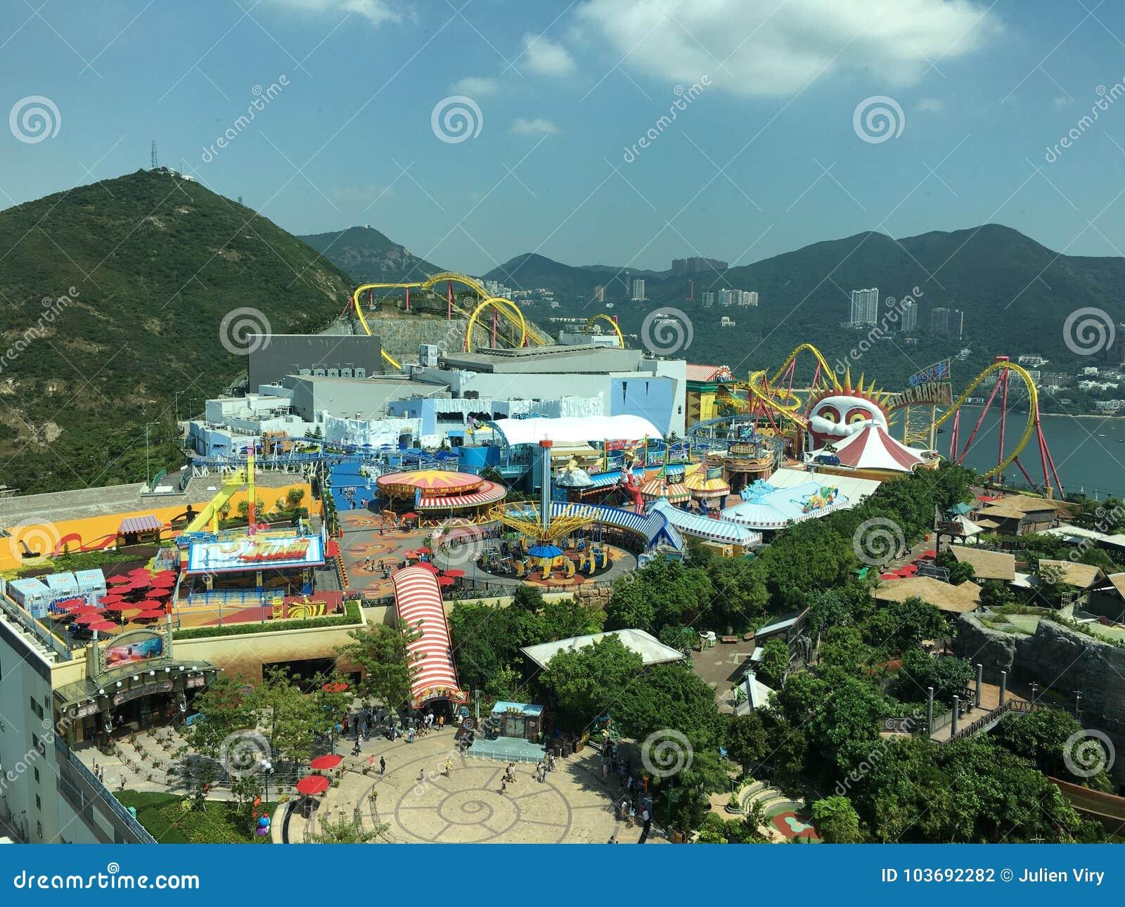 Vista aerea del parco dell oceano, Hong Kong