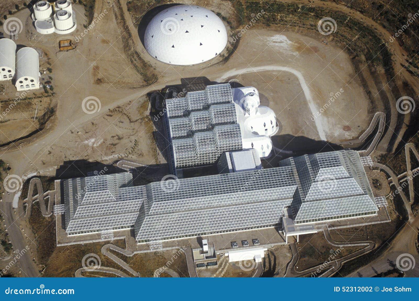 Vista aerea dell ecosistema incluso di biosfera 2 ad Oracle in Tucson, AZ