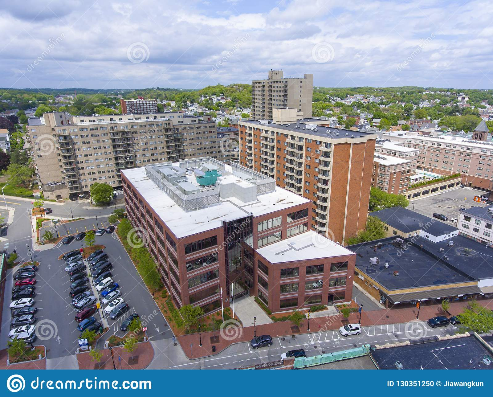 Vista aerea della città di Malden, Massachusetts, U.S.A.