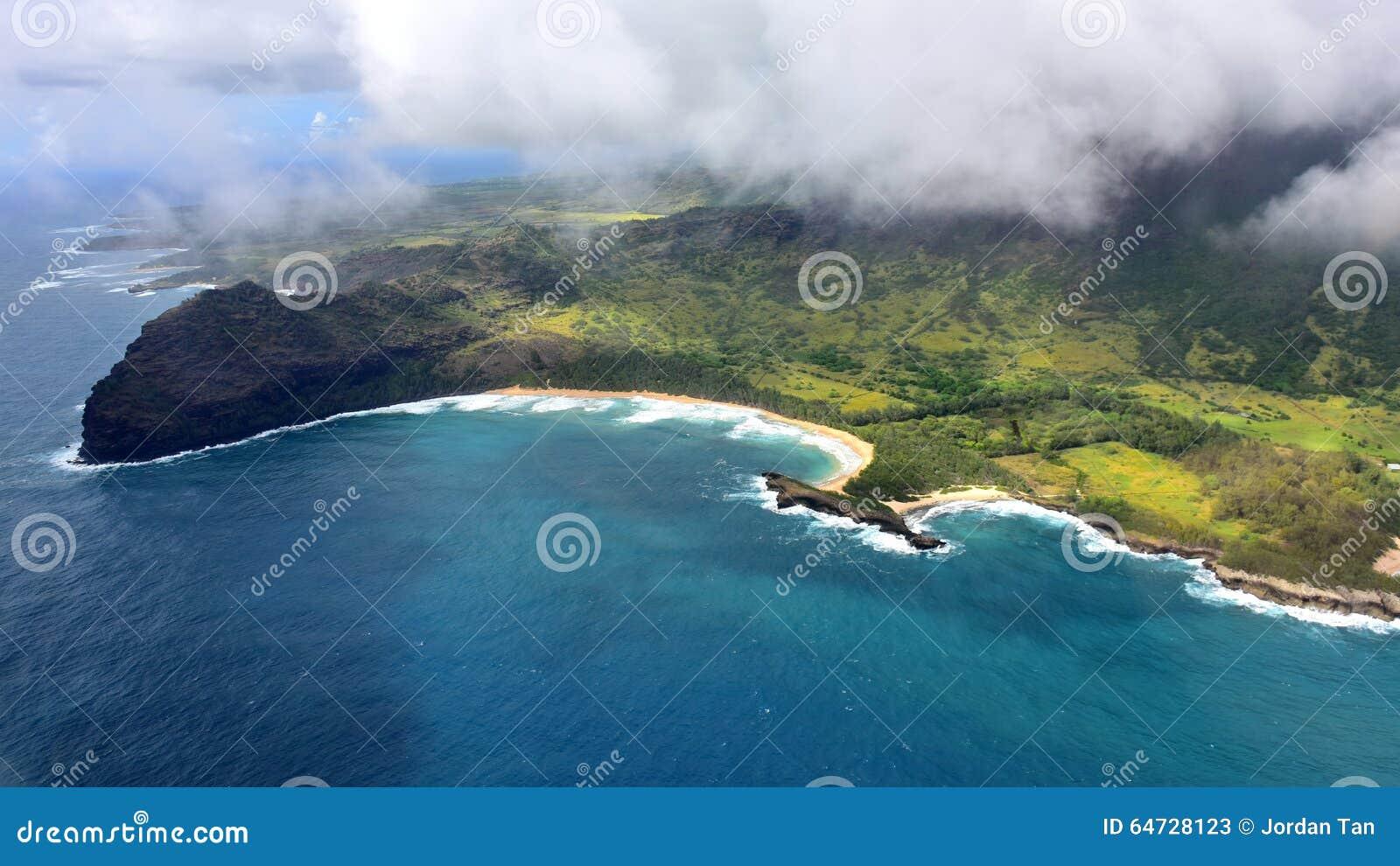Vista aerea della linea costiera dell isola di Kauai