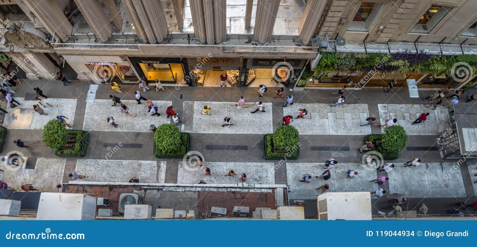 Vista aerea di Calle Florida Florida Street - Buenos Aires, Argentina
