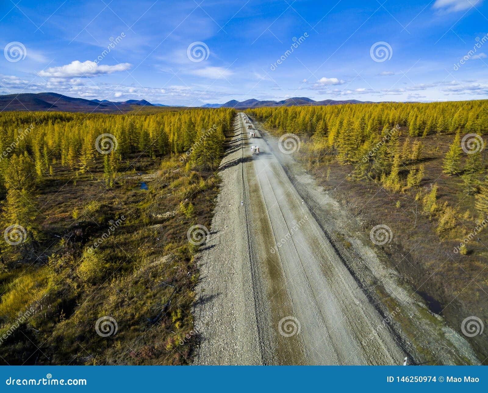 Vista aerea di guida di veicoli attraverso la foresta sulla strada campestre La Russia