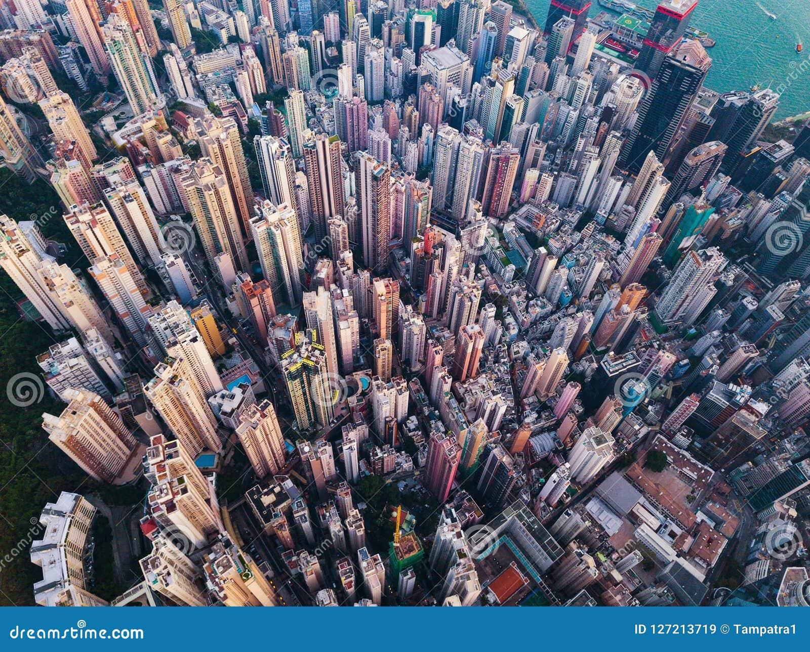 Vista aerea di Hong Kong del centro Distretto e busine finanziari