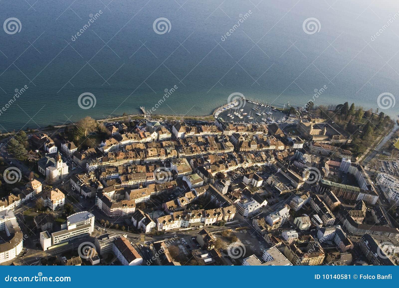 Vista aerea di Morges, Svizzera