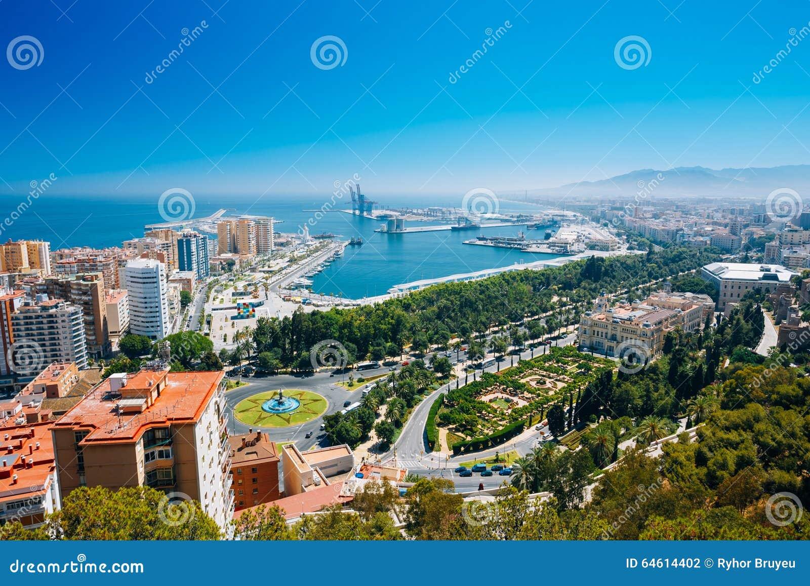Vista aerea di paesaggio urbano di malaga spagna fotografia stock immagine 64614402 - Fotografia aerea malaga ...