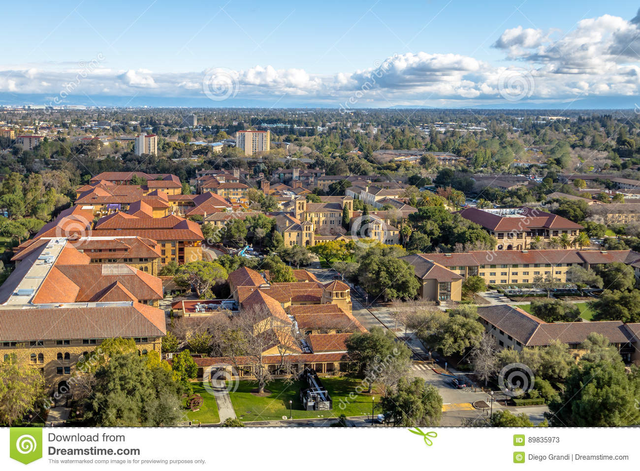 Vista aerea di Stanford University Campus - Palo Alto, California, U.S.A.