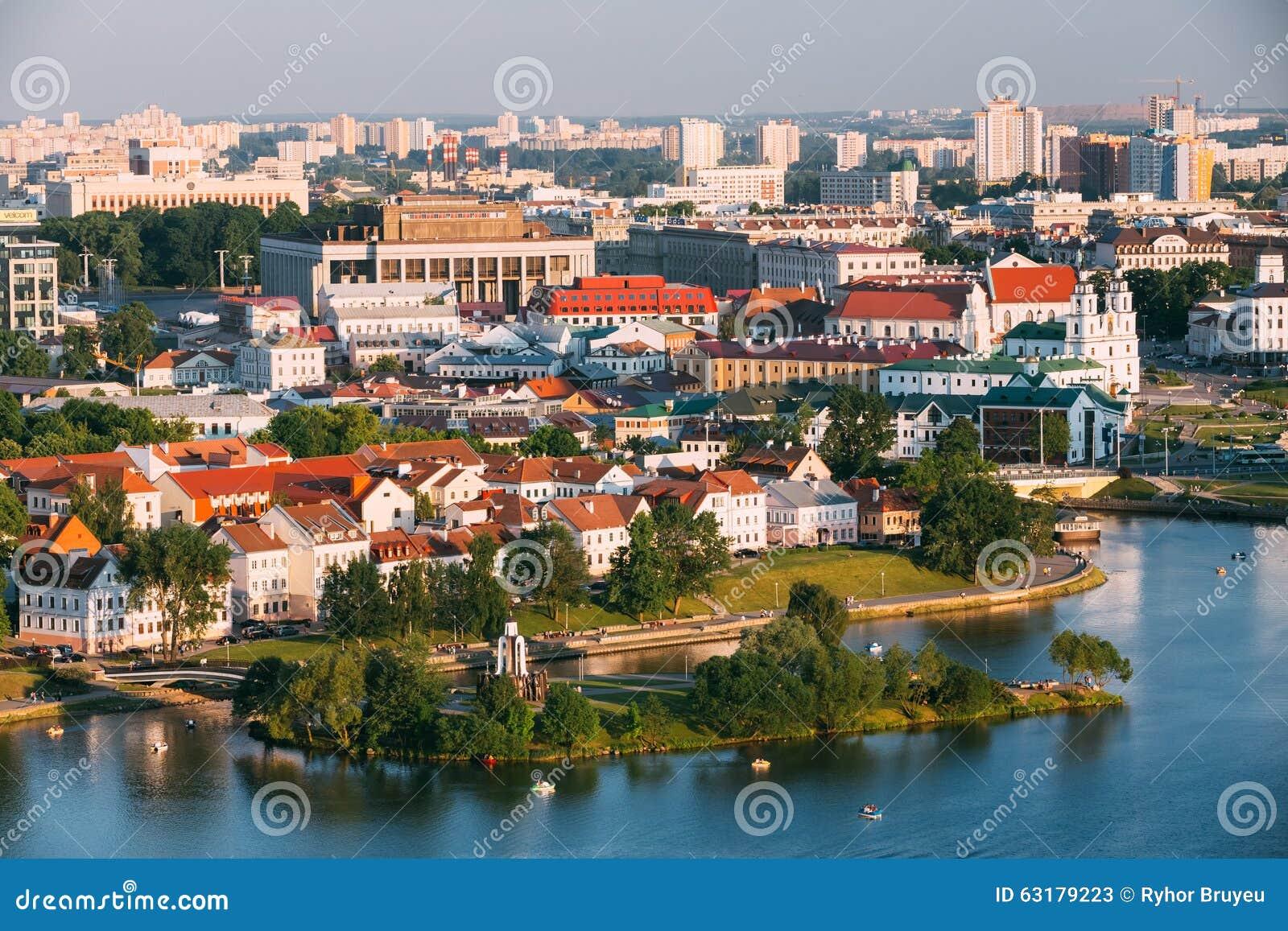 Vista aerea, paesaggio urbano di Minsk, Bielorussia