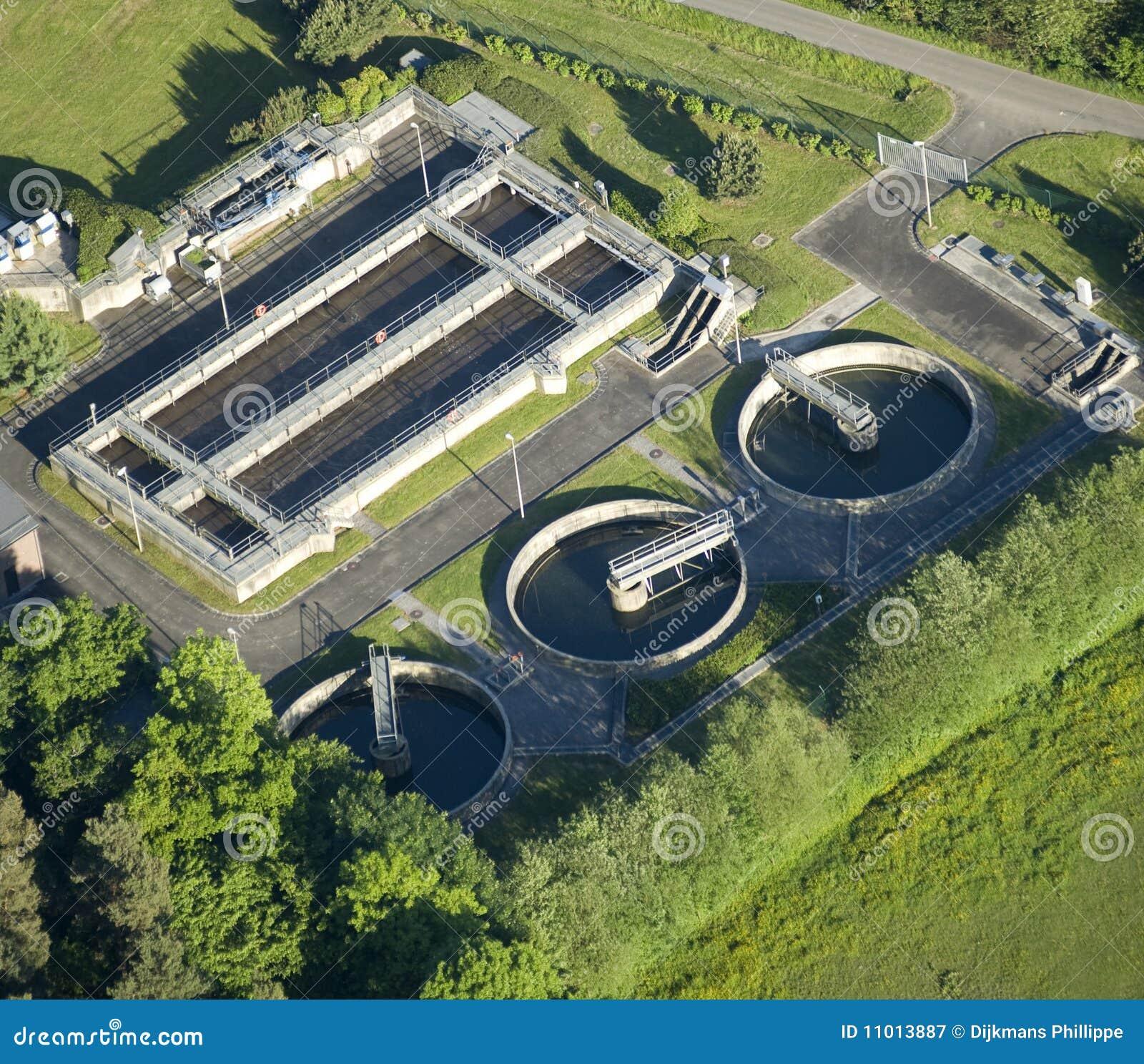 Vista aerea: pianta di Acqua-trattamento
