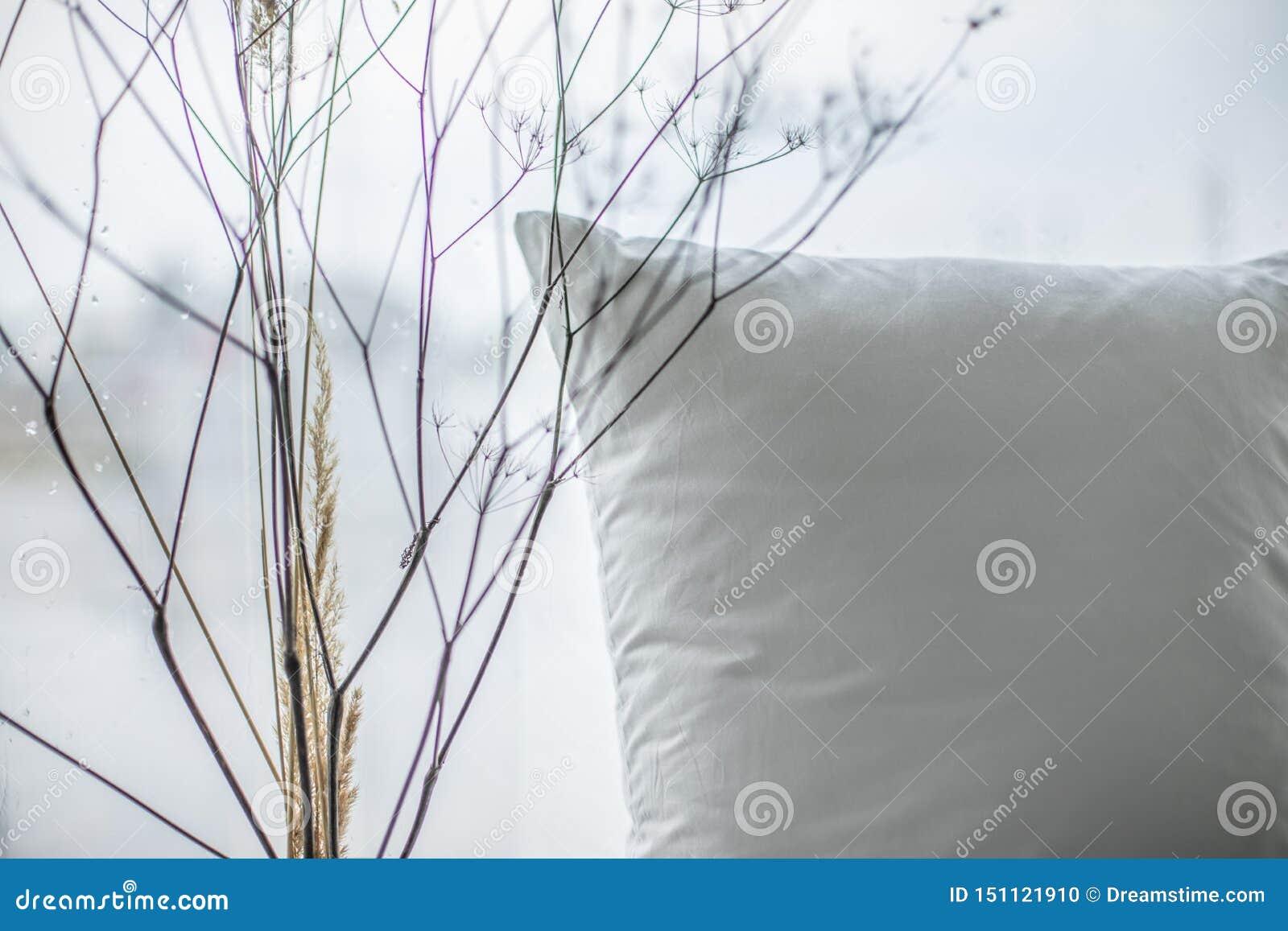 Vista alta vicina della camera da letto con il cuscino e le piante secche