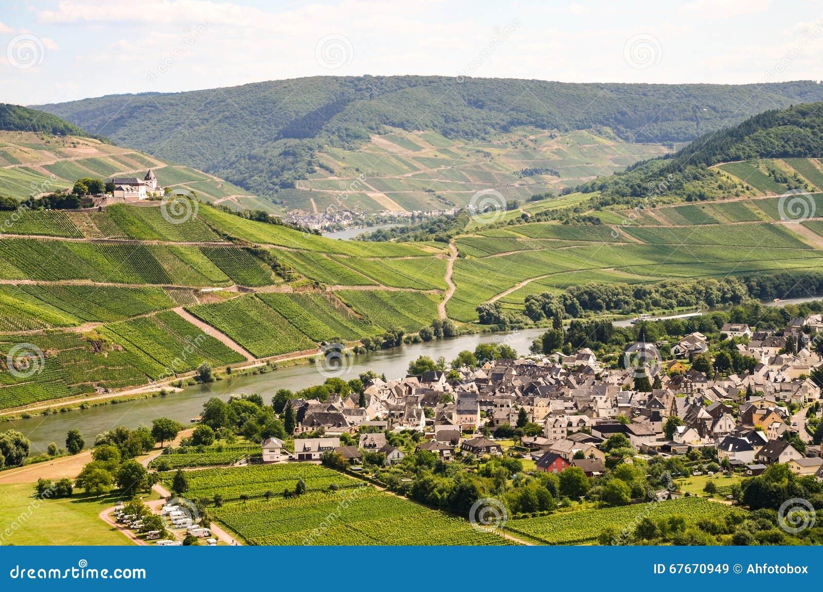 A vista ao rio Moselle e Marienburg fortifica perto da região da vila Puenderich - do vinho de Mosel em Alemanha