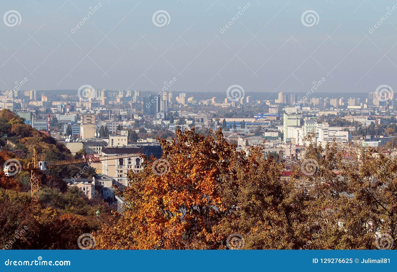 Vista bonita da cidade Construção e arquitetura em Podol, Kiev ucrânia