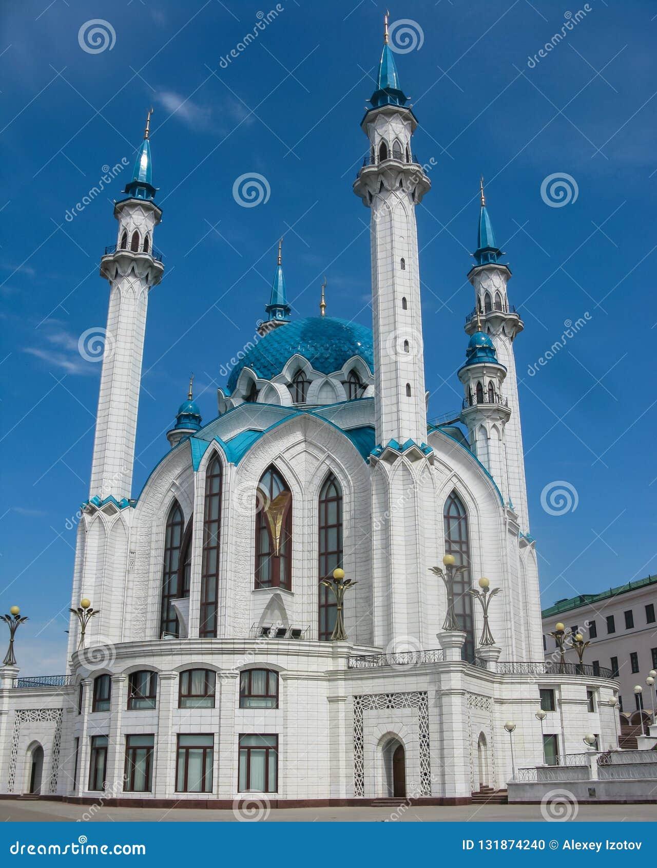 Vista bonita e excelente da mesquita de Kul Sharif Cidade de Kazan, Tartaristão, Rússia