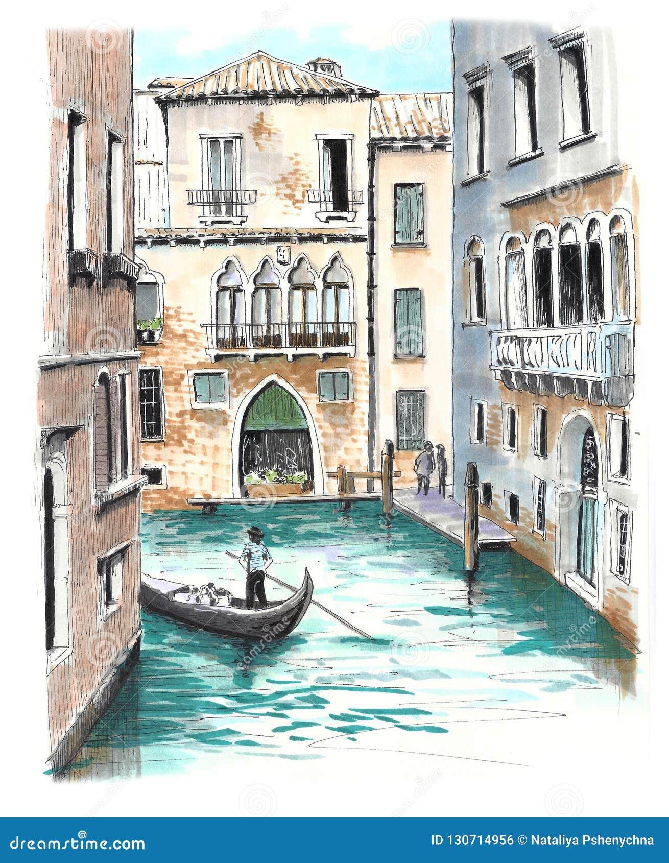 A vista bonita a um dos canais venetian