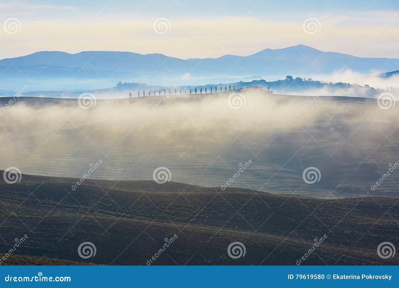 Vista cênico de campos e de montes de Tuscan com névoa