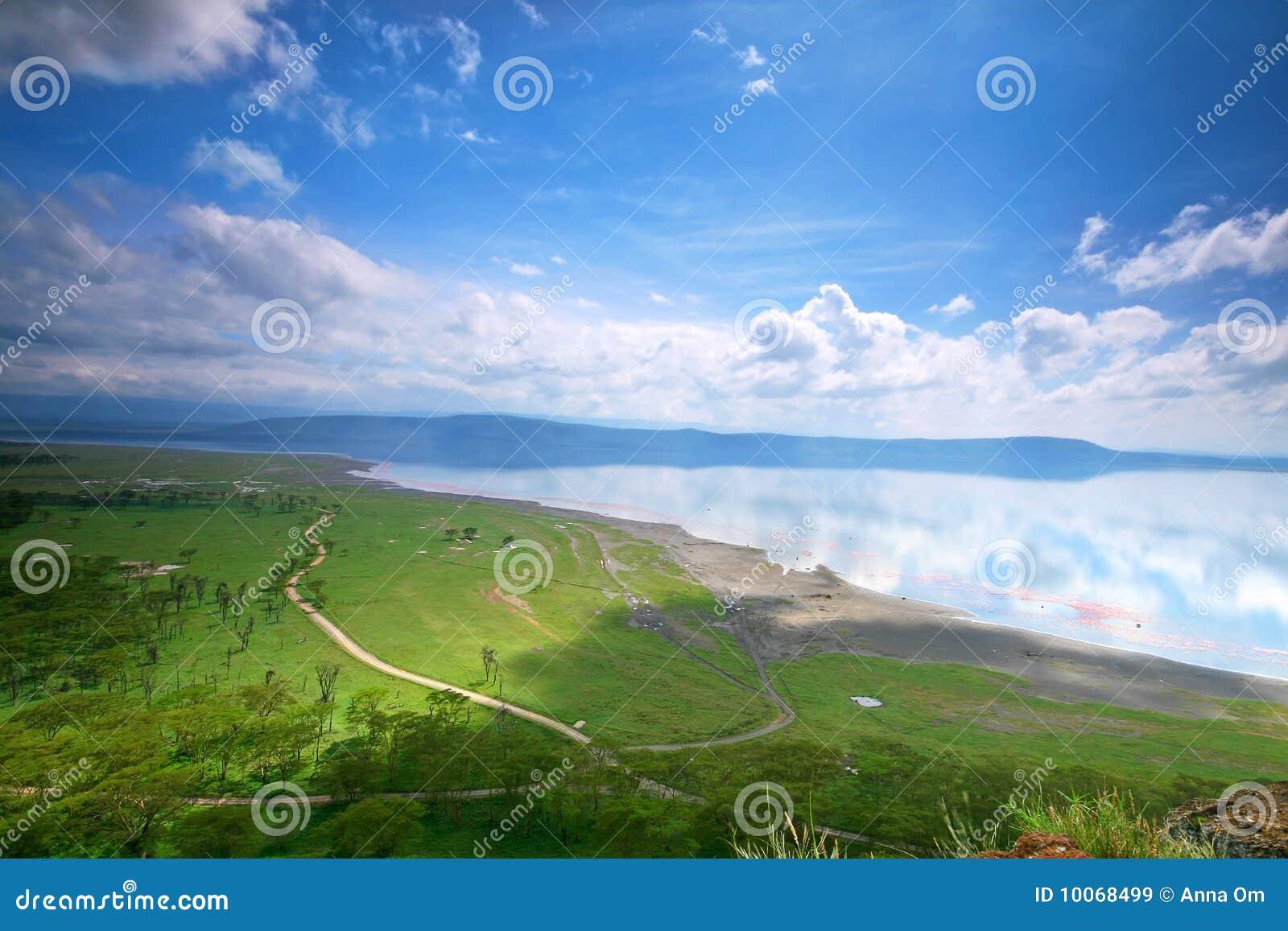 Vista calma no lago Nakuru