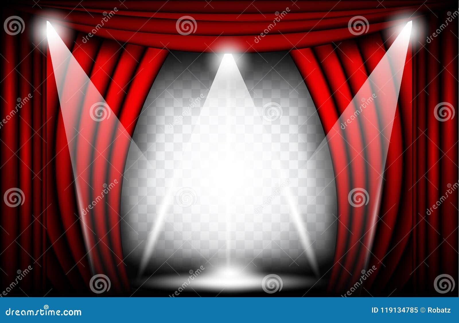 Vista cercana de una cortina roja del terciopelo Ejemplo del vector del fondo del teatro, etapa de Teathre con los proyectores