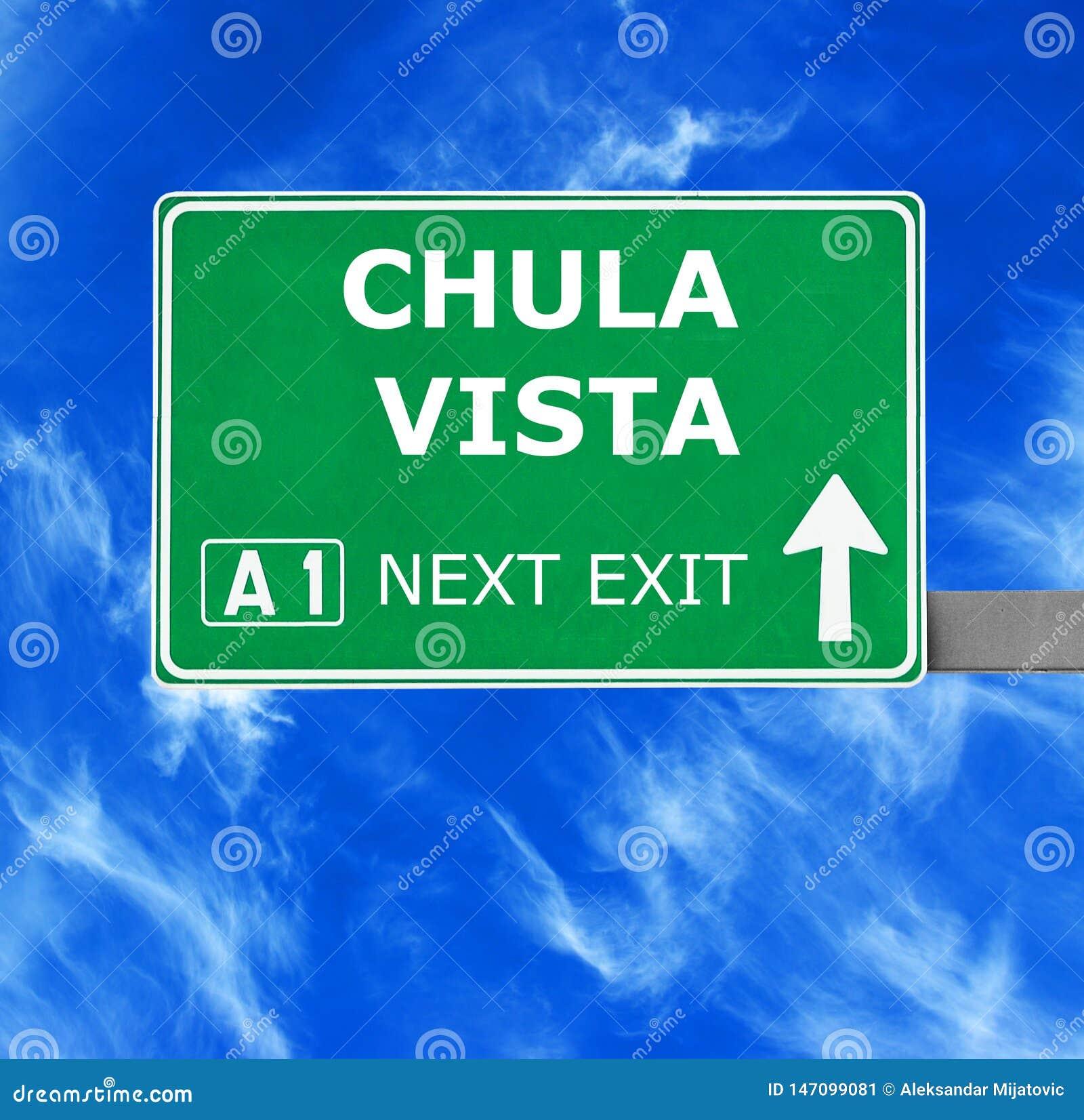 VISTA CHULA οδικό σημάδι ενάντια στο σαφή μπλε ουρανό