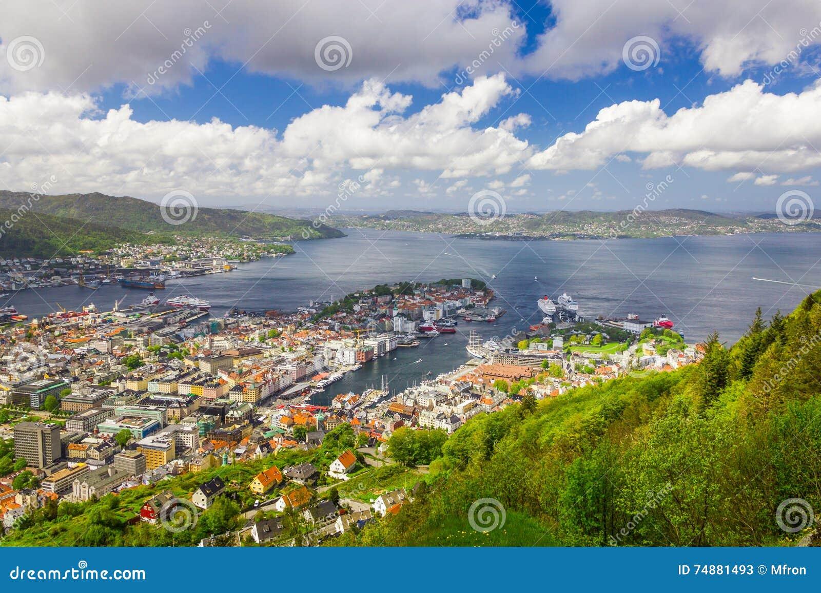 Vista da cidade de Bergen, Noruega