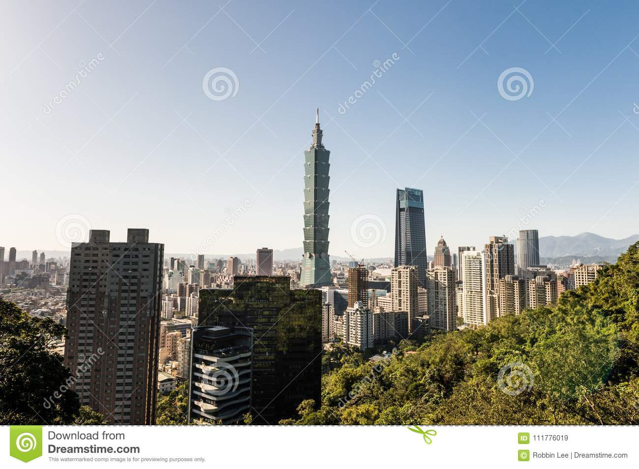 Vista da construção do World Trade Center de Taipei 101